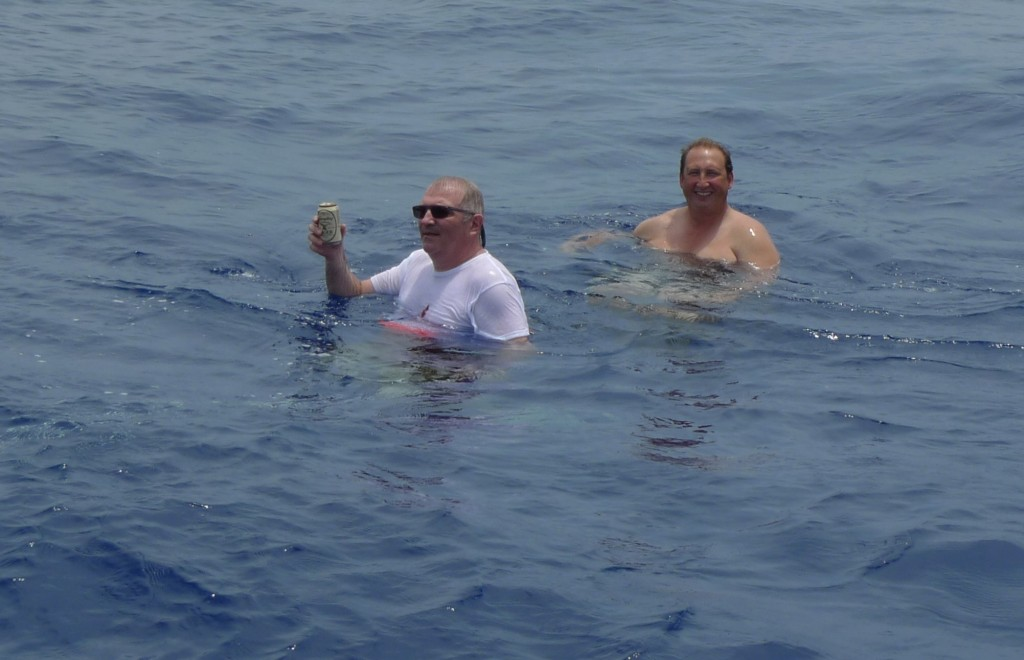Pete and Tony in the water