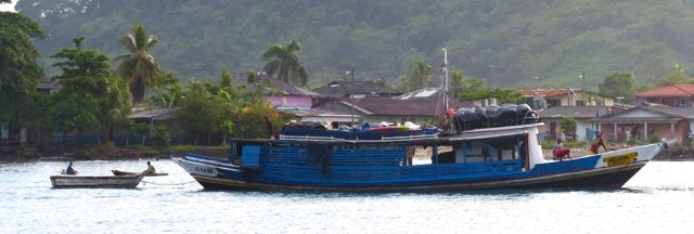 "Melissa, a leaking ""Kevin"" boat anchored at Puerto Obaldia, Panama."