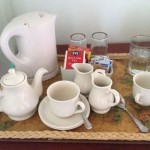 Awesome tea and coffee service ever. Real coffee, decent tea, a pot for the tea and fresh milk in the fridge!  [One of my pet peeves is that hotels never do this: the creamer always some hydrogenated vegetable oil product.]
