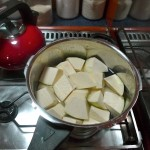 Breadfruit in the pot. It needs to boil for well over half an hour.