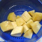 Here are delicious chunks of breadfruit. Ready to be served with butter, salt and pepper or mashed.