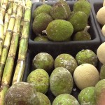 This is the tropical food aisle: breadfruit and breadnut (and sugar cane on the left).