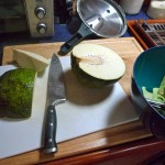 Fresh breadfruit cut in half.