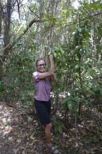 Jane attempting to swing on a jungle vine like Tarzan.