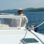 Drifting around Dolphin Bay 2: Pete sailing.