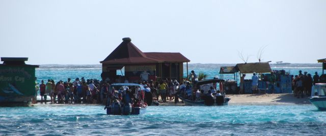 Visitors crowd the island.