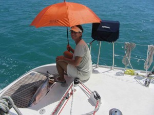 with 45 minutes left to get to the marina, we kept the fish cool with water from the transom and a parasol.