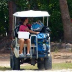 Gayle took the first batch of luggage to the apartments in the golf cart with Sue the realtor from Niagra.