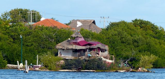 The floating island, viewed from On Delay in the marina.