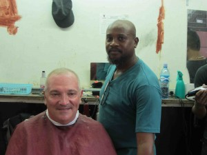 Mr. Barber and a satisfied customer!