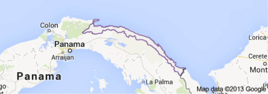 Map showing Kuna Yala in relation to Panama.