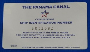 Our official Panama canal identification card.