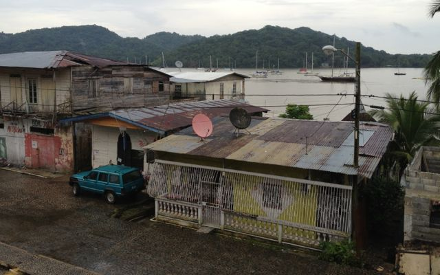 Typical waterfront properties: Note the bars and lack of paint and rooves.