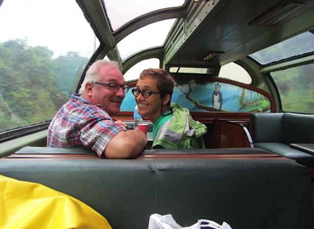 Tony and Jane enjoy the train trip.