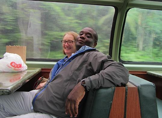 Hilary and Siggy enjoy the train trip.