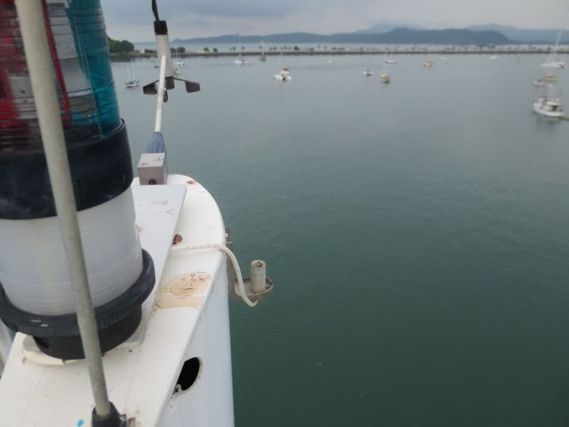 Here's where the antenna broke off. Eric took this photo at the top of the mast.