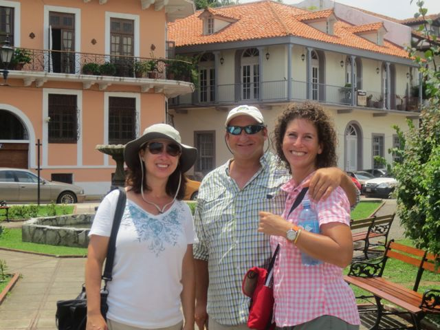 Casco Viejo (the second old town -- post 1671) is a must see in Panama City. Here are turistas Lynda, Pete and Gayle.