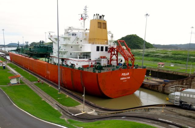 Not much room to spare when there's a big boat in the locks.