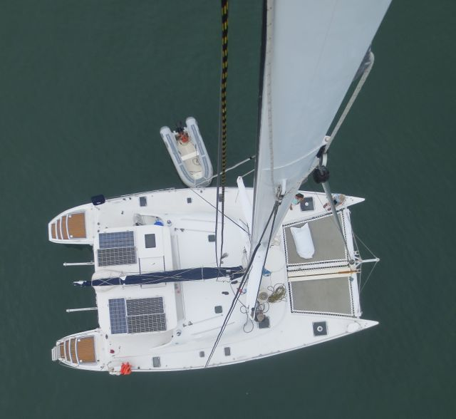 Eric took some great photos from the top of the mast. Here's On Delay from a different perspective.