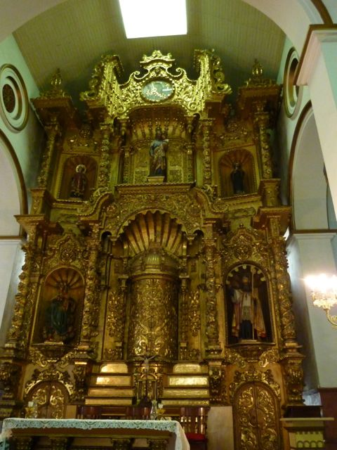 Inside the San Jose church which contains the gold altar rescued from Panama Viejo.