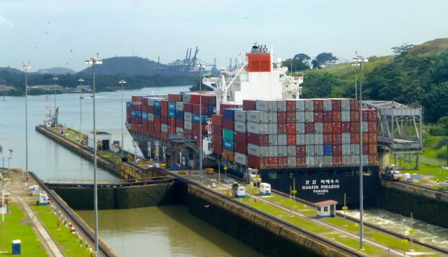 A container ship leaving the locks.