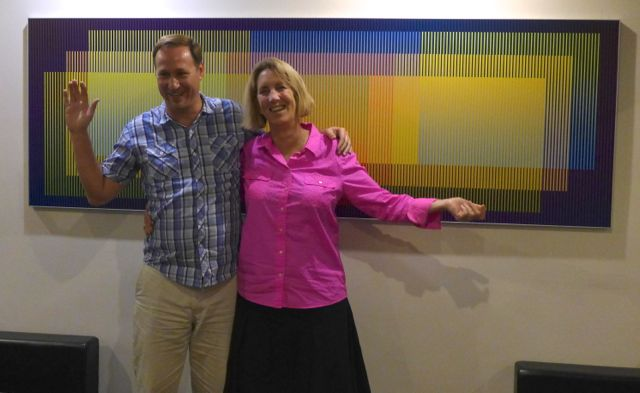Jon and Laura in front of the psychedelic painting at Rausch.