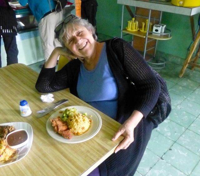 New friend and Boquete resident Martine mugs with her plato tipico.