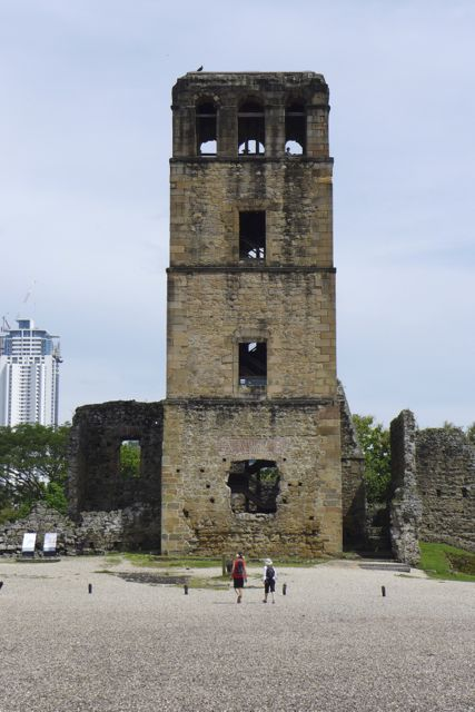 The iconic tower of the cathedral in Panama Viejo.