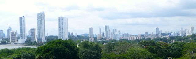 A wonderful view of the new Panama city from the ruined cathedral tower of the old Panama.