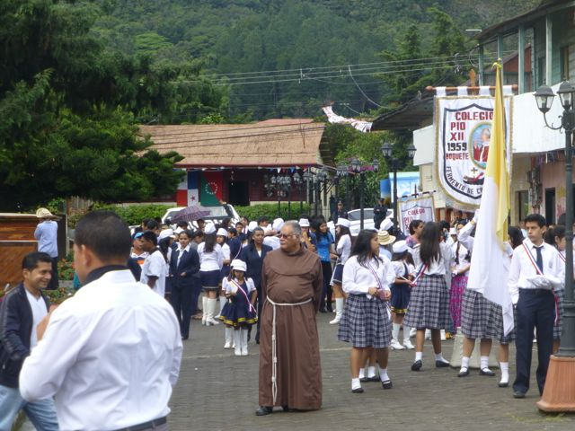 The Catholic school girls wear modest below-the-knee skirts.