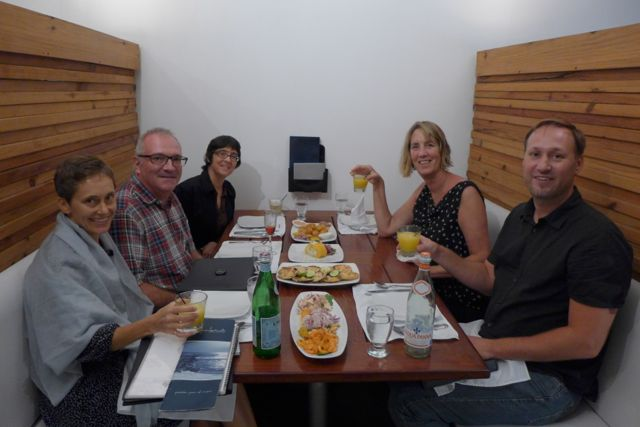 Dining at Segunda Muelle: Jane, Tony, Wren, Laura, and Jon.