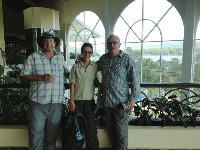 Pete, Jane, and Tony in the spectacular atrium-like lobby of the Gamboa Rainforest Resort.