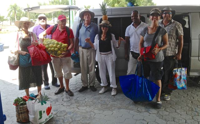 Cruisers with their shopping (L to R): Ann from Galivant, Timo from Pipe Dream, Werner from Windance, Doug from Galivant, Christina from Windance, Rogelio our awesome driver, Gayle and Pete from On Delay.