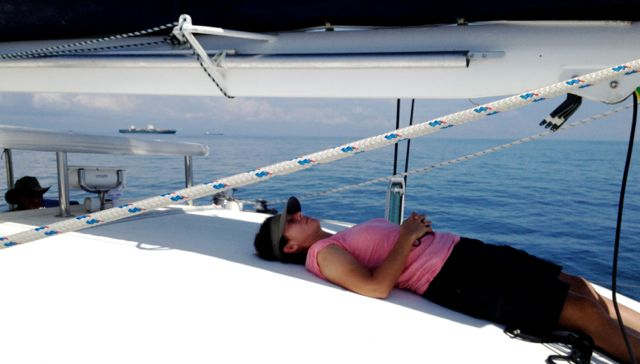 After a hard day of sailing, Gayle found a wonderful shady spot to call her own.