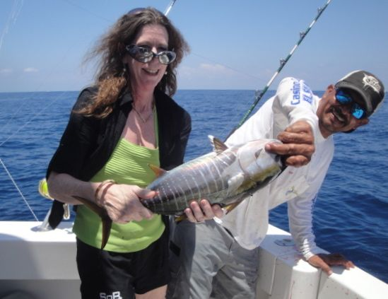 Kathy landed the first tuna.