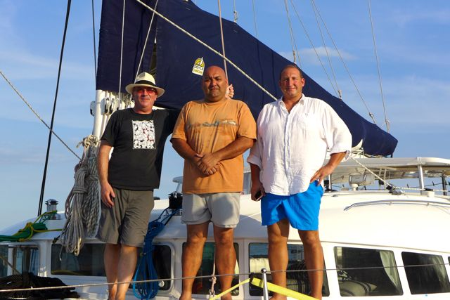 Three serious sailors: Tony, Renan, and Pete.